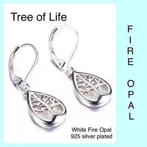 White Fire Opal Tree of Life Earrings Silver Plate